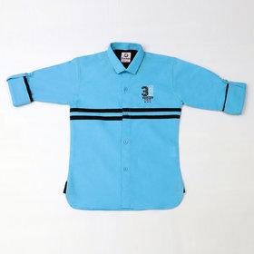 FK Fox Kids Boy's Cotton Roll-up Sleeve Turquoise Shirt