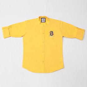 FK Fox Kids Boy's Cotton Roll-up Sleeve Gold Shirt
