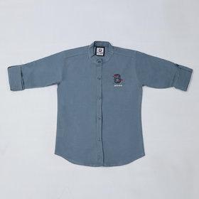 FK Fox Kids Boy's Cotton Roll-up Sleeve Gray Shirt