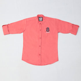FK Fox Kids Boy's Cotton Roll-up Sleeve Pink Shirt