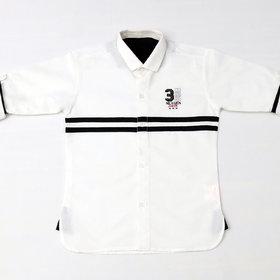 FK Fox Kids Boy's Cotton Roll-up Sleeve White Shirt