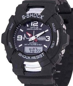 NEW BRAND fast selling S-Shock Black Round Digital And Analog Sports Watch With Light For Men