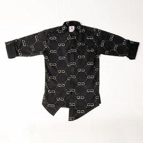 FK Fox Kids Boy's Imported Hosiery Roll-up Sleeve Black Shirt