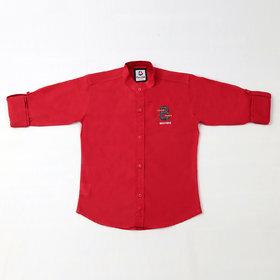 FK Fox Kids Boy's Cotton Roll-up Sleeve Red Shirt