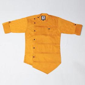 FK Fox Kids Boy's Satin Roll-up Sleeve Gold Shirt