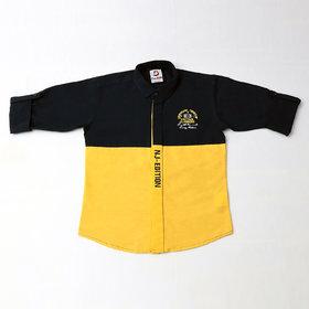 FK Fox Kids Boy's Cotton Roll-up Sleeve Yellow Shirt