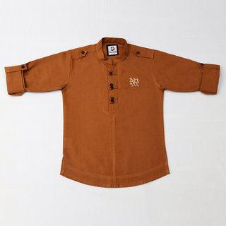 FK Fox Kids Boy's Cotton Roll-up Sleeve Brown Shirt