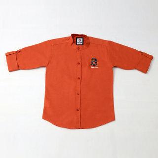 FK Fox Kids Boy's Cotton Roll-up Sleeve Rust Shirt
