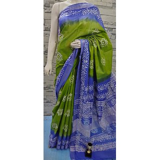 Krush Kreations Saree for women with blouse piece, Blue with green