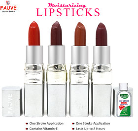 Fauve Long Lasting Lipstick, (FL17), Multicolor, 3.6g each Pack of 4 With Lilium Hand Cleanser
