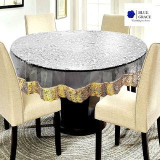 BLUE GRACE 3D Bubble Design PVC 4 seater Round Dining Table cover with Silver Border,size 60 inches