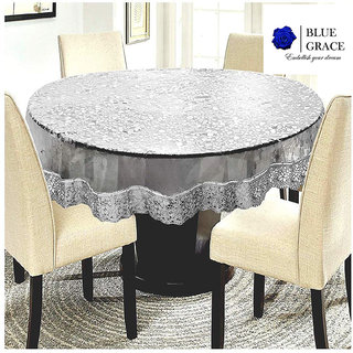 BLUE GRACE 3D Bubble Design PVC 6 seater Round Dining Table cover with Golden Border,size 72 inches