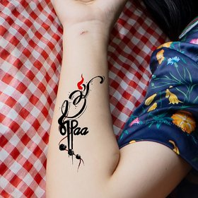 Ordershock Om with Maa Paa and Rudraksh Tattoo Waterproof Men and Women Temporary Body Tattoo V622
