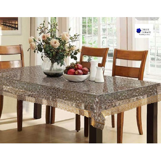 BLUE GRACE 3D Bubble Design PVC 4 to 6 seater Dining Table cover with Golden Border,size 54x78 inches