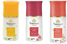 Yardley London English Blossom,Royal Bouquet,London Rose Roll On Pack Of 3 Deodorant Roll-on .50 ml each.