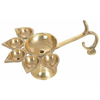 Brass Hindu Puja Camphor Burner Lamp Panch Aarti - 5 Face For Puja
