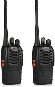 Artek BF-888S BF888S Rechargeable Long Range Walkie Talkie 16 Channels Two Way Radio with earpiece (1 Pair), Black (Line