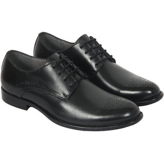 OCIO Real Leather Vintage Derby Men Shoes Comfortable Formal Casuals Office Wear Work Shoes For Men (Black)