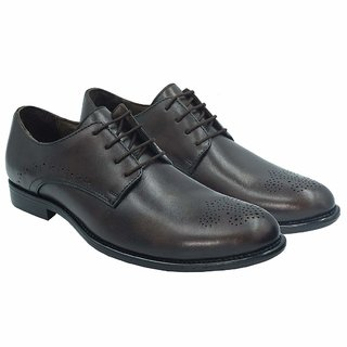 OCIO Real Leather Vintage Derby Men Shoes Comfortable Formal Office Wear Work Shoes Outdoors For Men (Brown)
