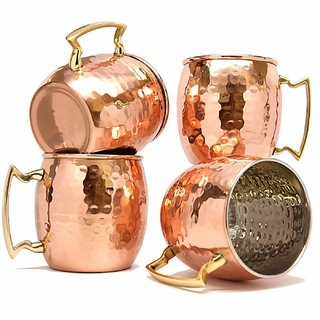 Set Of 4 Copper Moscow Mules Mug 560 ML Inside Nickel Hammered