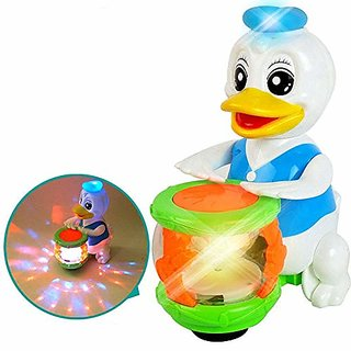 Children Cartoon Flash of Light Musical Instruments Electric Duck Shaking Head Beat Drum Music toys for boys toys