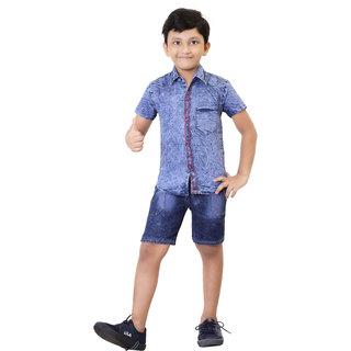 Hizume Boys Denim Half Shirt  Half Pant Combo