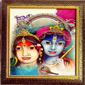 Handicraft Hindu Lord Goddess God Photo for Pooja and Wall Radhe Krishna Photo Photo Frame