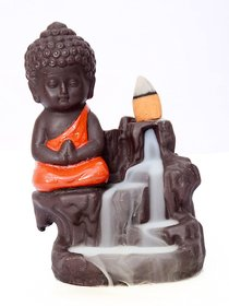Poly Resin Buddha Smoke Fountain with 10 Smoke Back Flow Scented Cone Incenses