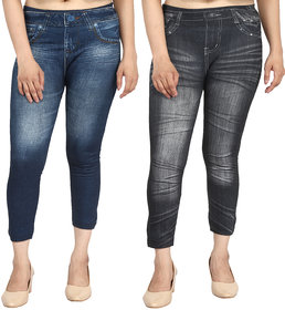 Aiyra Women's 3D Printed Denim Look Jegging - Blue and Black (Pack of 2)