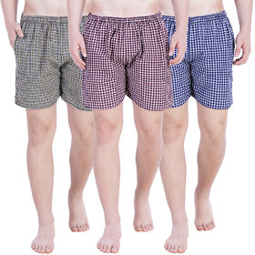 Stars Collection Men's Cotton Shorts Boxer shorts 3 pcs combo Grey Brown Blue