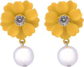 STUDIRA Alloy Studs Non Precious Metal Fashion Jewellery Stylish Yellow-Color Fancy Party Wear Earrings for Girls and Wo