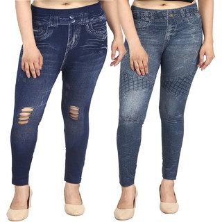 Aiyra Women's 3D Printed Denim Look Jegging -  Blue (Pack of 2)