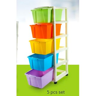 BLUMOON Multipurpose 5 Layer Free Standing Chest of Drawers Utensil Kitchen Rack  (Plastic)