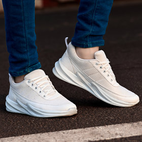 Groofer Breathable White Sythentic Sport Shoes For Men's