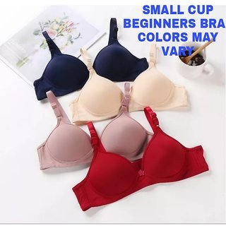 Rayyans (Pack of 4) FULLY PADDED Imported Soft high Quality Plain Push up Sexy Bra (Colors as per availability)