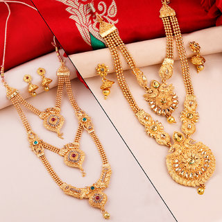 SILVER SHINE Gold Plated Traditional Designer Long Jewellery Set For Women
