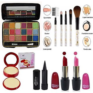 ADS SWIPA Pink Red Lipstick+Kajal+9Colour Eyeshadow+5Pcs Makeup Brush+2in1 Compact Powder Set Of-6