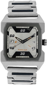 Fastrack Analog Quartz Silver Dial Rectangle Stainless Steel Strap Watch for Men