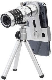 12X Extra Zoomer Optical Zoom Telescope Mobile Camera Lens with Tripod + Adjustable Phone Holder