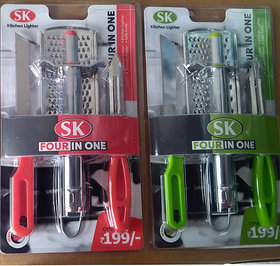 4 in 1 Heavy lighter with grater and knife Peeler Master combo - 2 Set