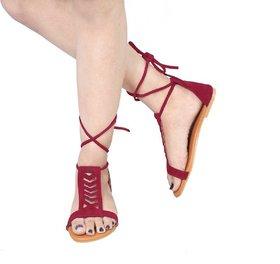 Abon Maroon Velvet Flat Sandal For Women