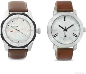 Pack of 2 Fastrack Round Dial Brown Leather Strap Analog Watch For Men
