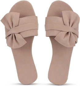 Abon Velvet Beige Flat Sandal