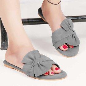 Abon Grey Velvet Flat Sandal For Women
