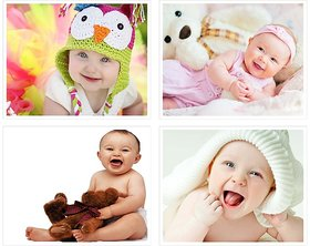 Cute Baby's Boy Poster for Pregnant Women 14(300 GSM Paper, 12x18 Inches each, Multicolour) -Combo Set of 4