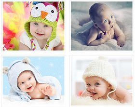 Cute Baby's Boy Poster for Pregnant Women 22(300 GSM Paper, 12x18 Inches each, Multicolour) -Combo Set of 4