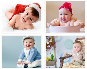 Cute Baby's Boy Poster for Pregnant Women 33(300 GSM Paper, 12x18 Inches each, Multicolour) -Combo Set of 4