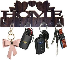 Pockester Home With Bird Wood Key Holder(8 Hooks, Brown)