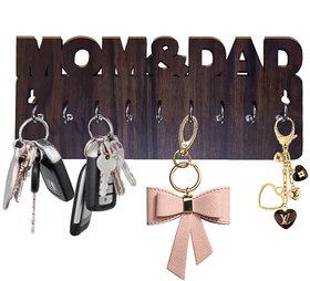 Pockester Mom and Dad Wood Key Holder(8 Hooks, Brown)