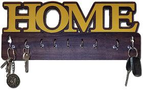 Pockester Home Wood Key Holder(8 Hooks, Brown)